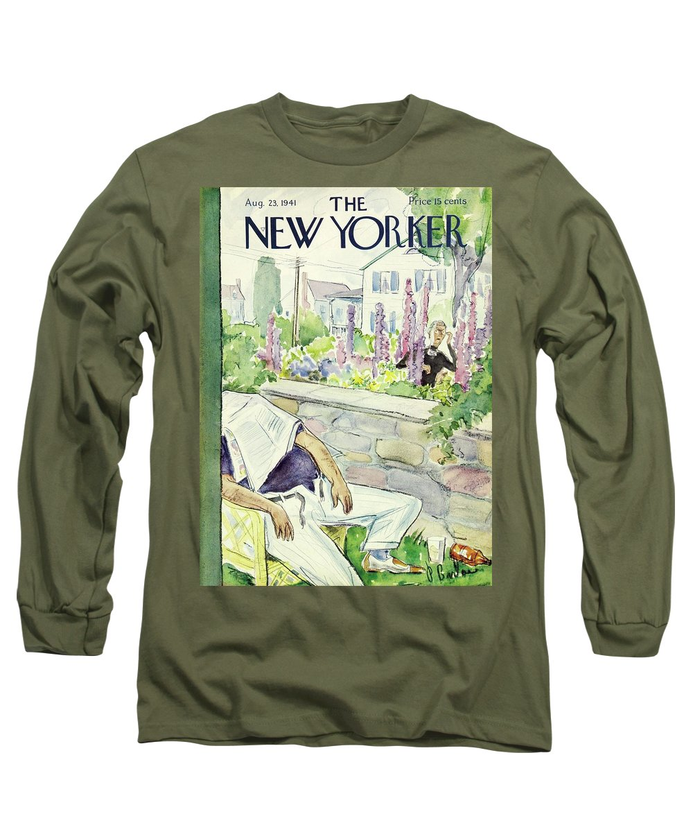 Neighbor Long Sleeve T-Shirt featuring the painting New Yorker August 23 1941 by Perry Barlow