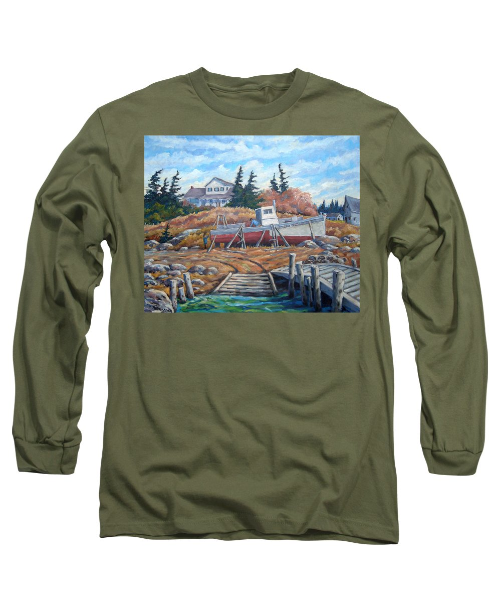 Boat Long Sleeve T-Shirt featuring the painting Novia Scotia by Richard T Pranke
