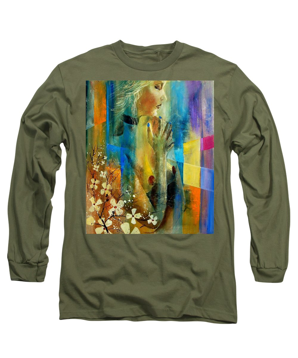 Nude Long Sleeve T-Shirt featuring the painting Nude 5609082 by Pol Ledent