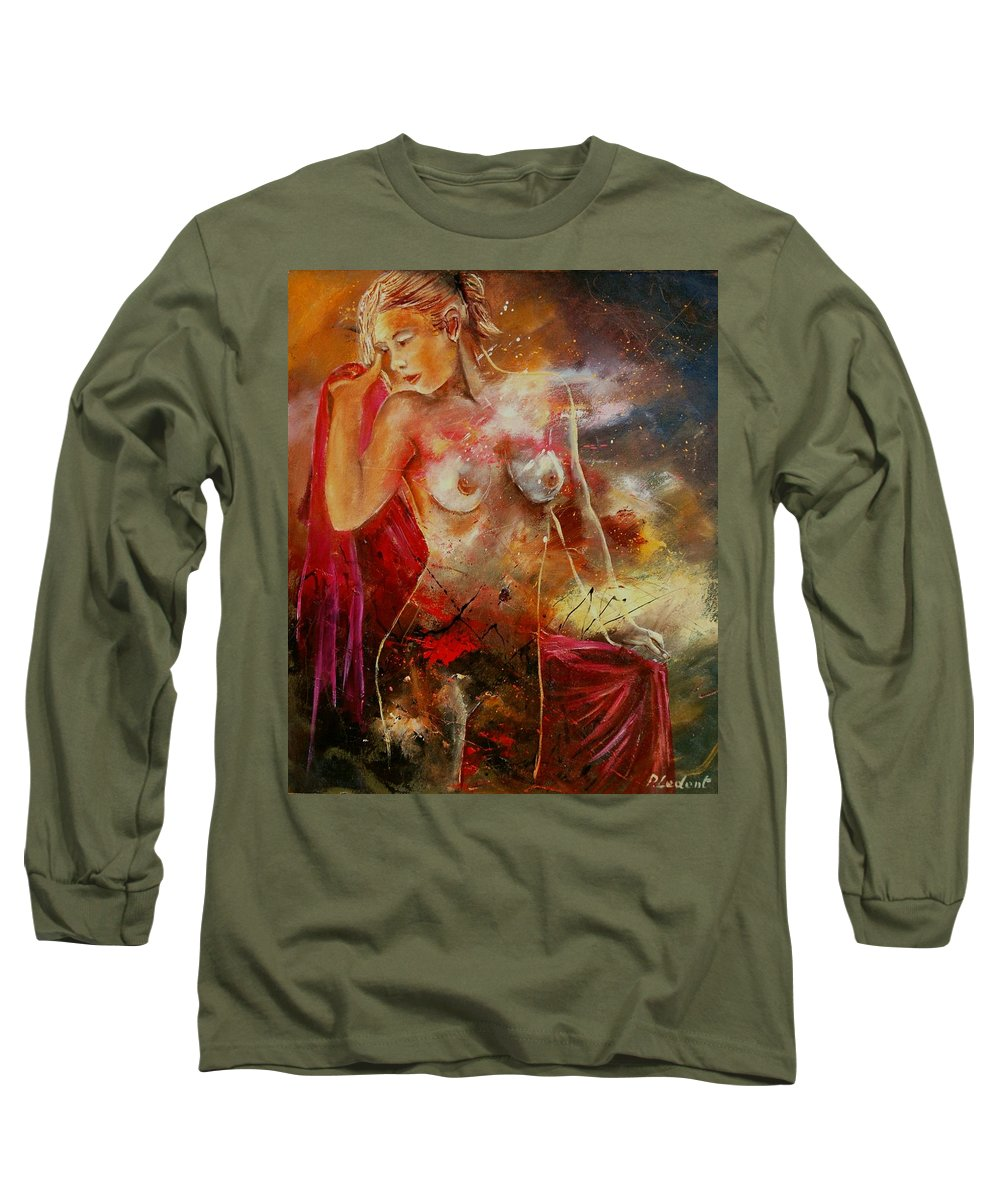 Nude Long Sleeve T-Shirt featuring the painting Nude 561008 by Pol Ledent
