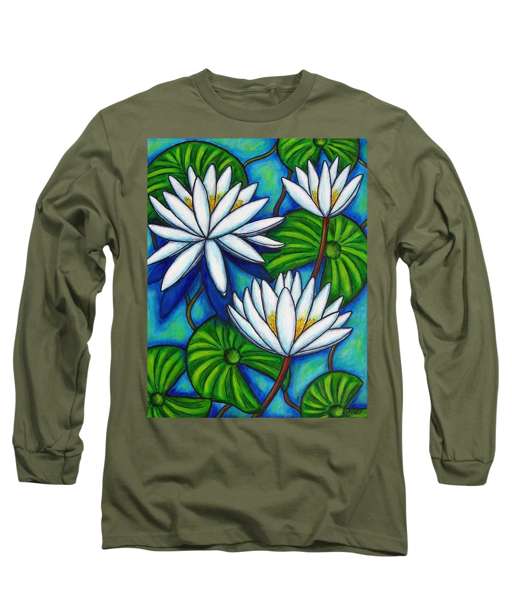 Lily Long Sleeve T-Shirt featuring the painting Nymphaea Blue by Lisa Lorenz