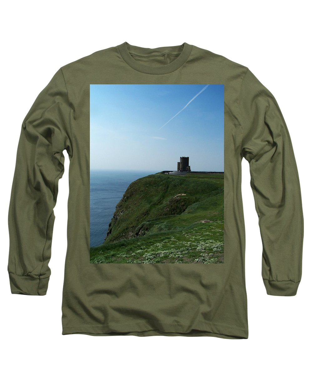 Irish Long Sleeve T-Shirt featuring the photograph O'brien's Tower At The Cliffs Of Moher Ireland by Teresa Mucha