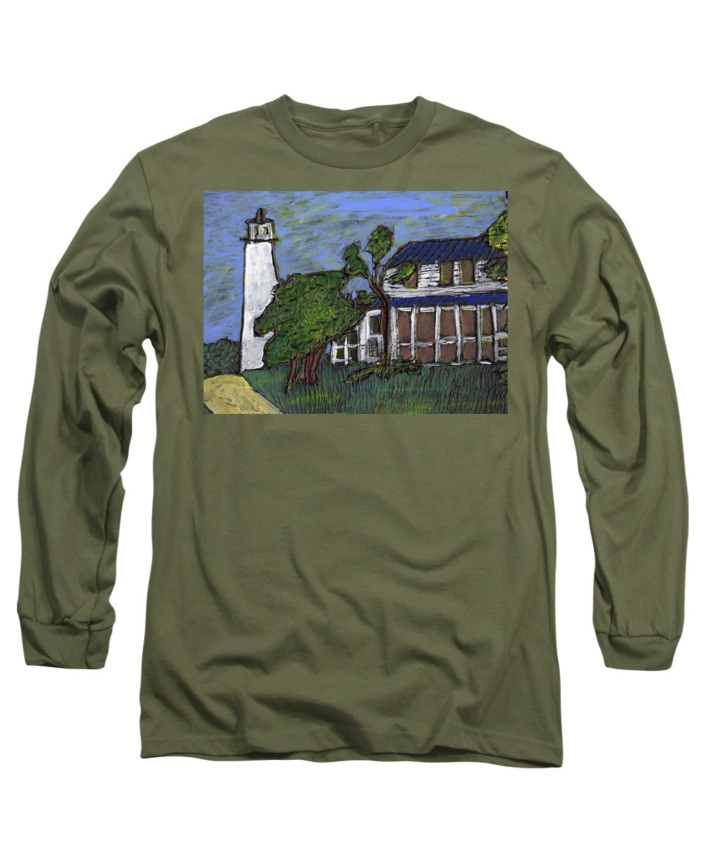 Light House Long Sleeve T-Shirt featuring the painting Ocracoke Island Light House by Wayne Potrafka
