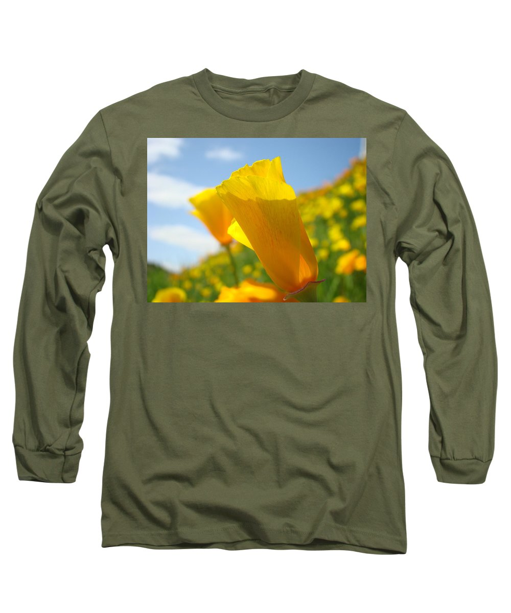 Office Long Sleeve T-Shirt featuring the photograph Office Art Prints Poppy Flowers 3 Poppies Giclee Prints Baslee Troutman by Baslee Troutman