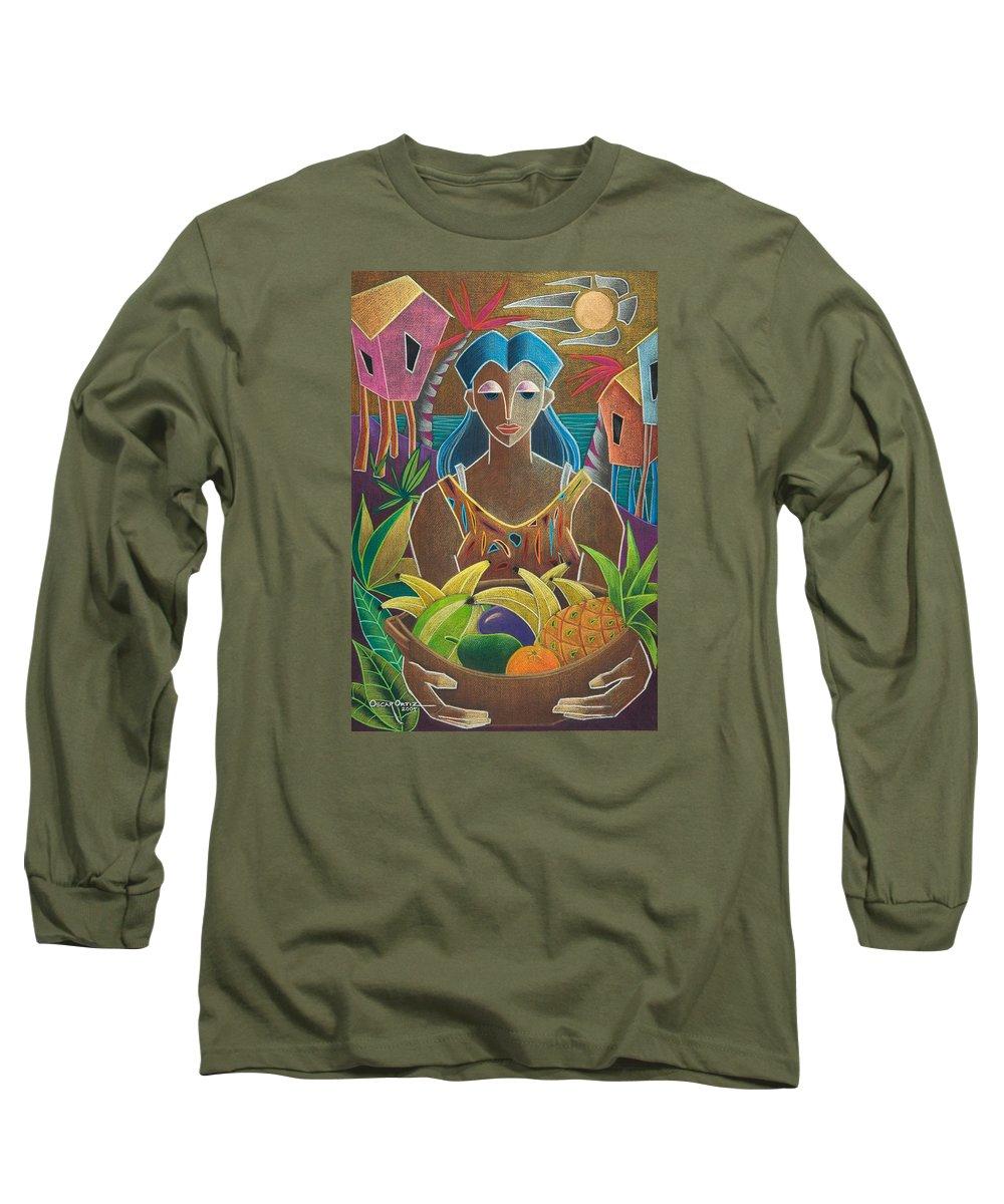 Female Long Sleeve T-Shirt featuring the painting Ofrendas De Mi Tierra by Oscar Ortiz