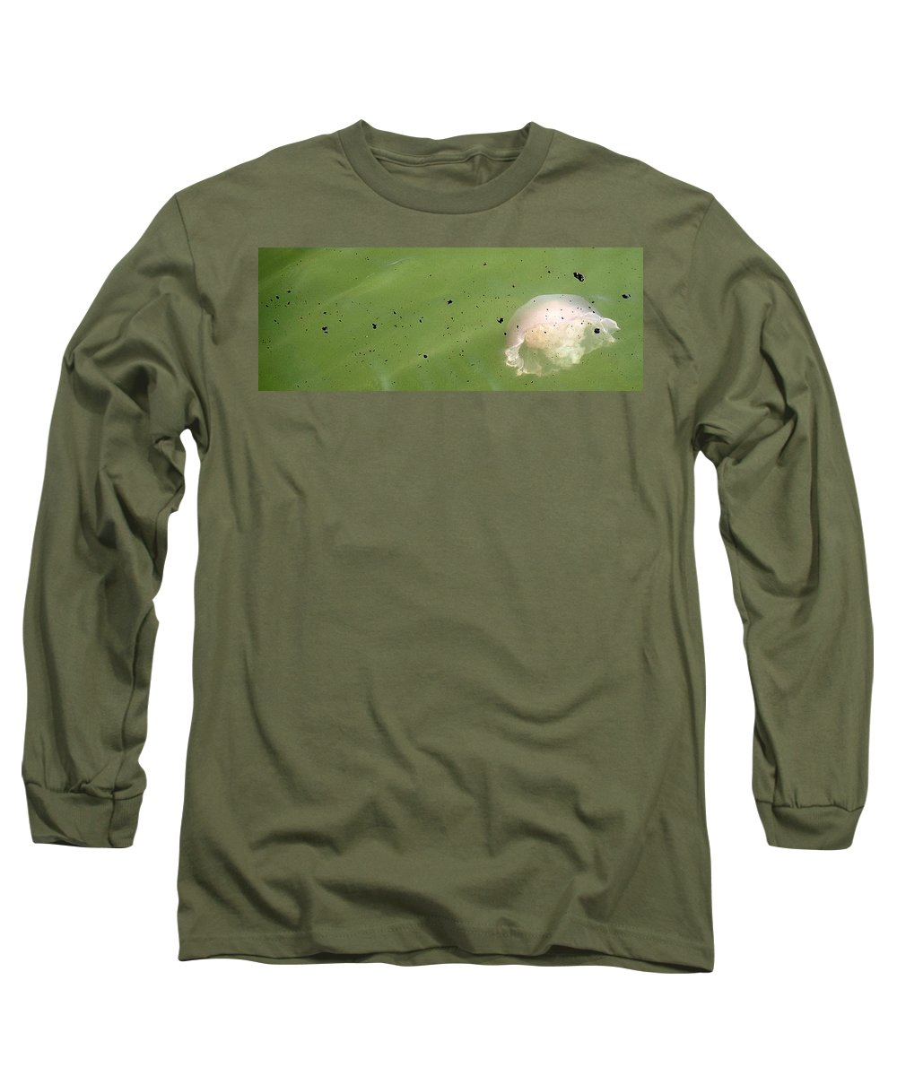 Oil Spill Long Sleeve T-Shirt featuring the photograph Oil Vs Jellyfish by Kurt Hausmann