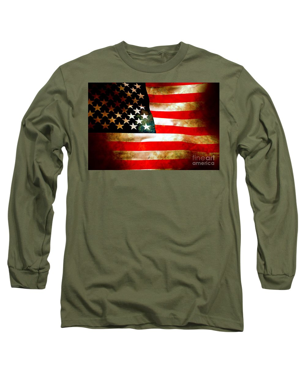 Flag Long Sleeve T-Shirt featuring the photograph Old Glory Patriot Flag by Phill Petrovic