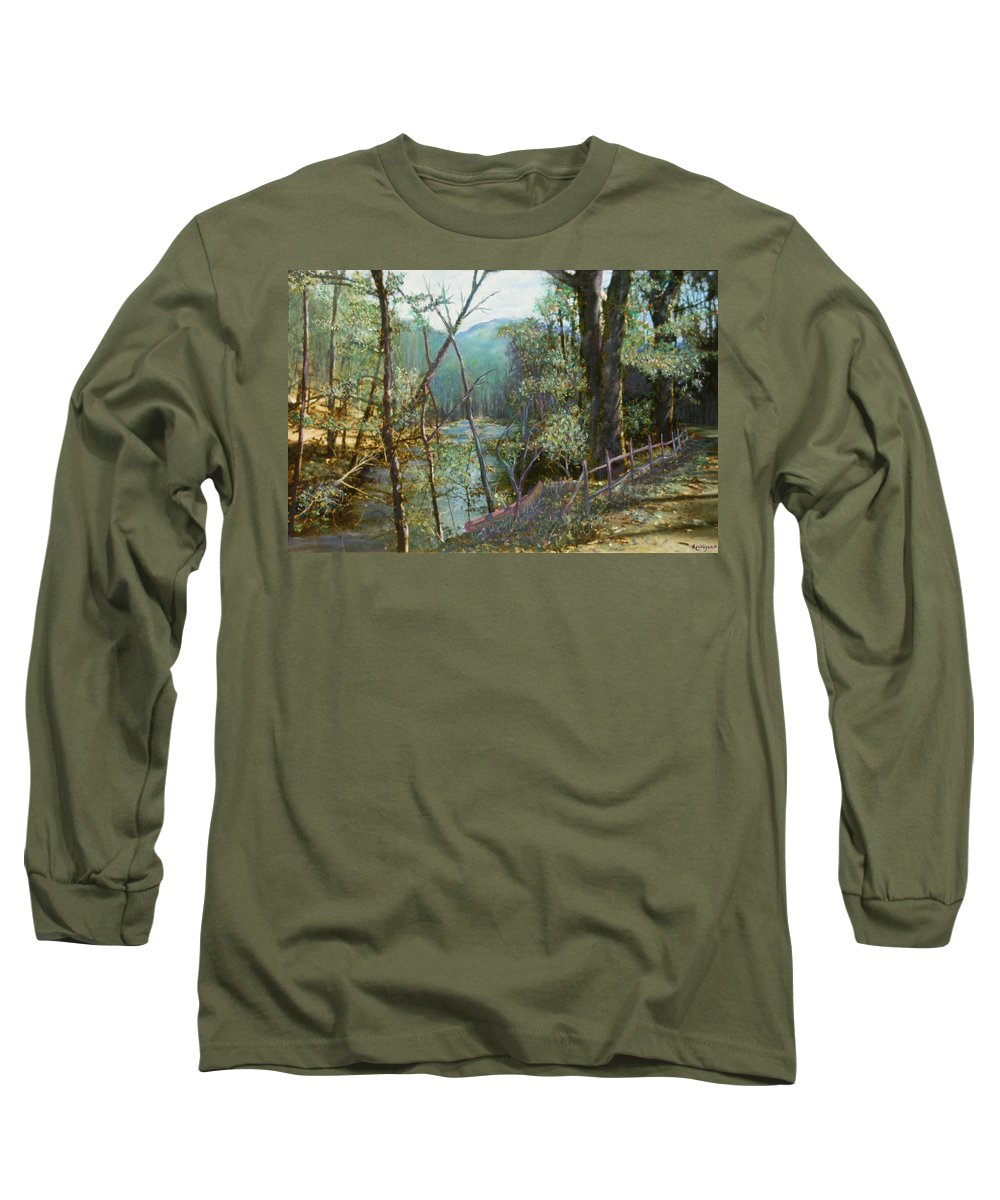 River; Trees; Landscape Long Sleeve T-Shirt featuring the painting Old Man River by Ben Kiger
