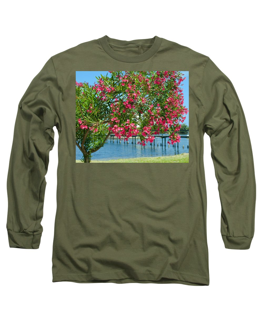Florida; Indian; River; Melbourne; Nerium; Oleander; Red; Pink; Flower; Bush; Shrub; Poison; Poisono Long Sleeve T-Shirt featuring the photograph Oleander On Melbourne Harbor In Florida by Allan Hughes