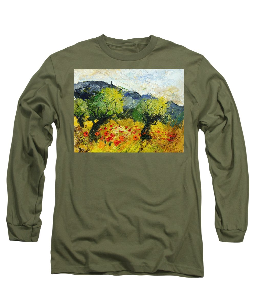 Flowers Long Sleeve T-Shirt featuring the painting Olive Trees And Poppies by Pol Ledent