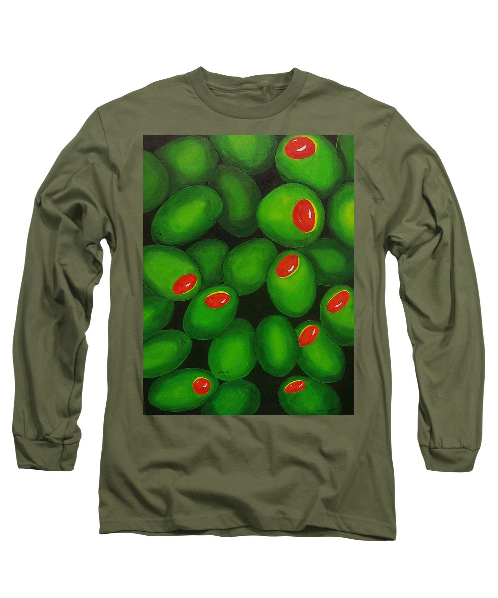 Olive Long Sleeve T-Shirt featuring the painting Olives by Micah Guenther