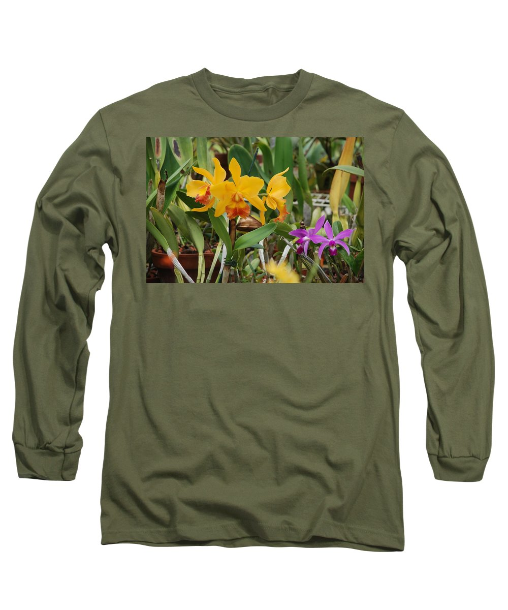 Orange Long Sleeve T-Shirt featuring the photograph Orangepurple Orchids by Rob Hans