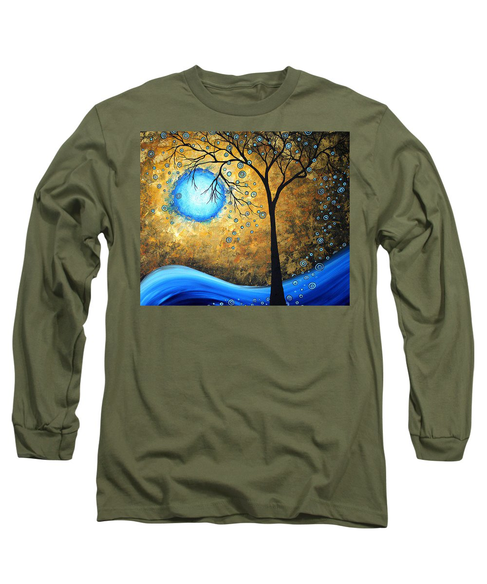 Abstract Long Sleeve T-Shirt featuring the painting Orginal Abstract Landscape Painting Blue Fire By Madart by Megan Duncanson