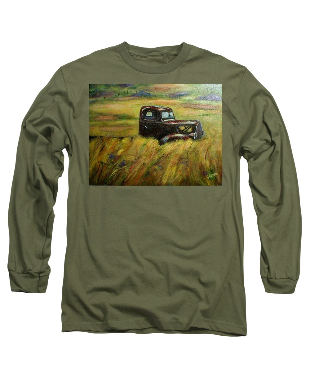 Vintage Truck Long Sleeve T-Shirt featuring the painting Out To Pasture by Gail Kirtz