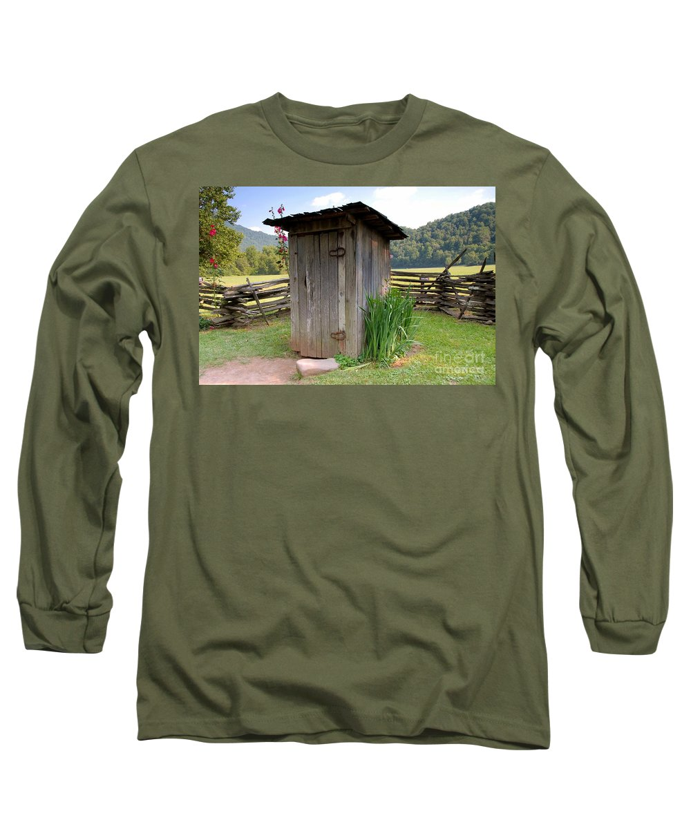 Outhouse Long Sleeve T-Shirt featuring the photograph Outhouse by David Lee Thompson