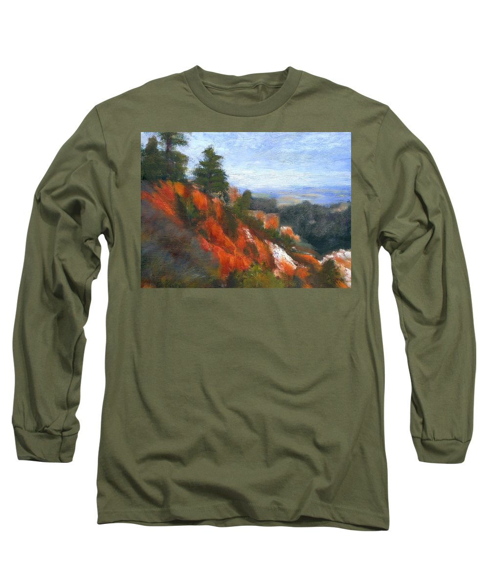 Southwest Long Sleeve T-Shirt featuring the painting Overlook by Gail Kirtz