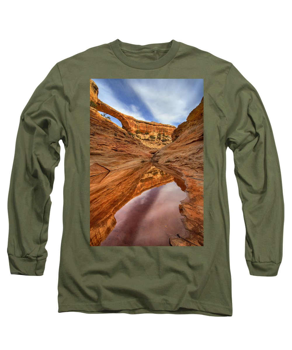 Bridge Long Sleeve T-Shirt featuring the photograph Owachomo Reflected by Mike Dawson