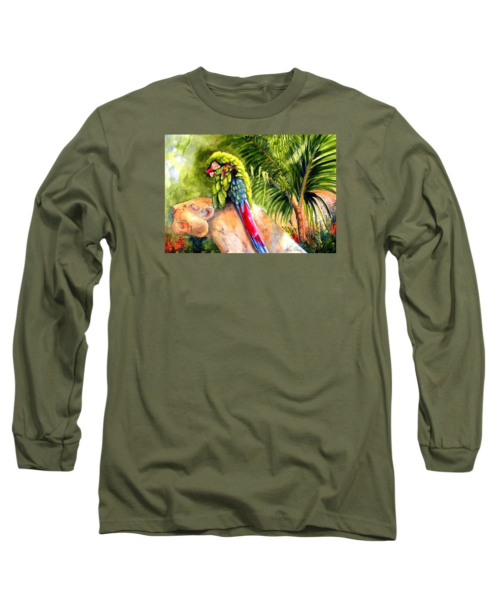 Parrot Long Sleeve T-Shirt featuring the painting Pajaro by Karen Stark