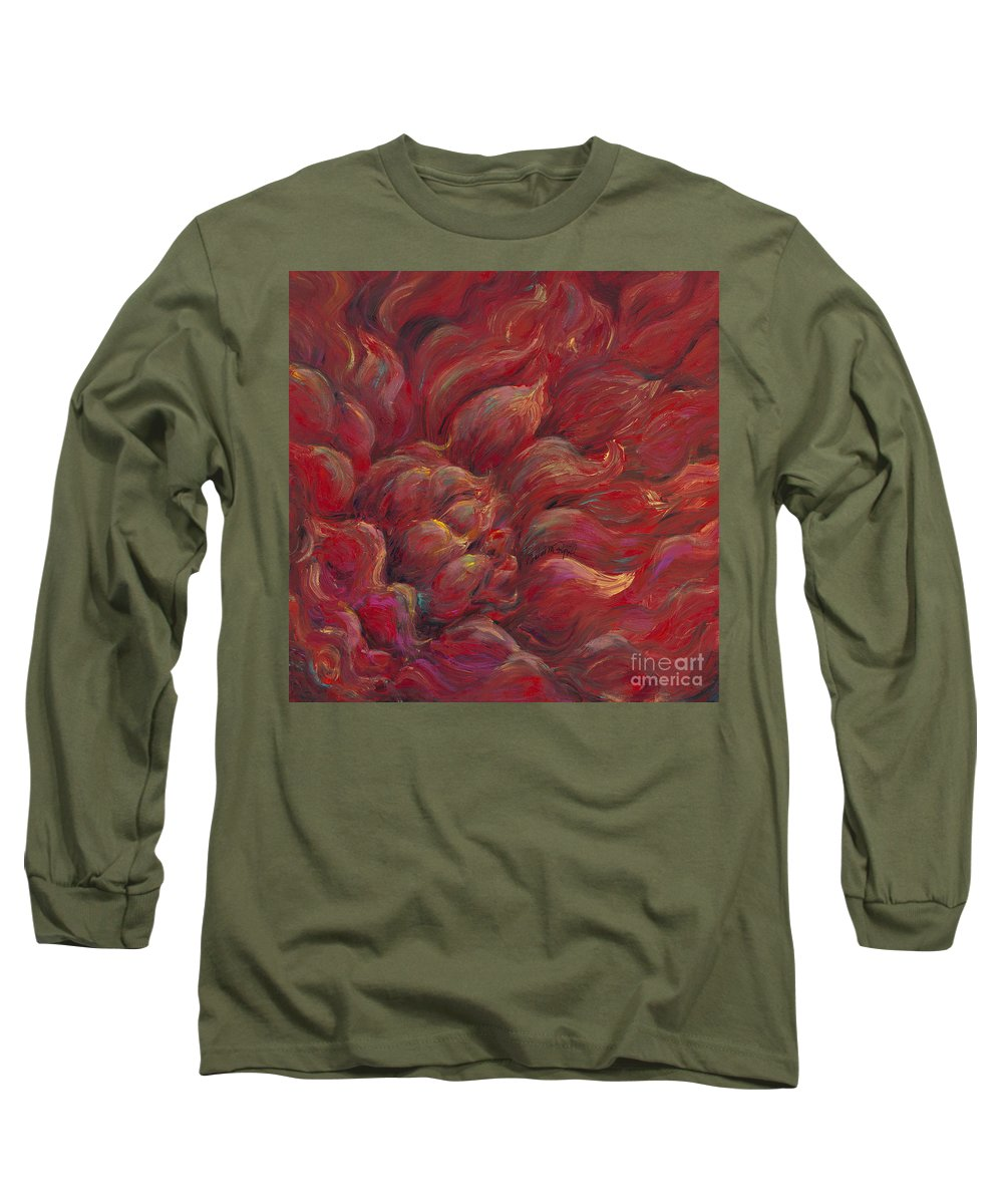 Red Long Sleeve T-Shirt featuring the painting Passion V by Nadine Rippelmeyer