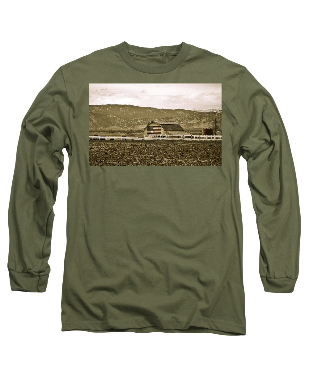 Americana Long Sleeve T-Shirt featuring the photograph Patriotism And Barn by Marilyn Hunt