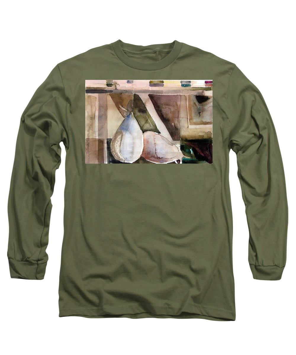 Pear Long Sleeve T-Shirt featuring the painting Pear Study In Watercolor by Mindy Newman