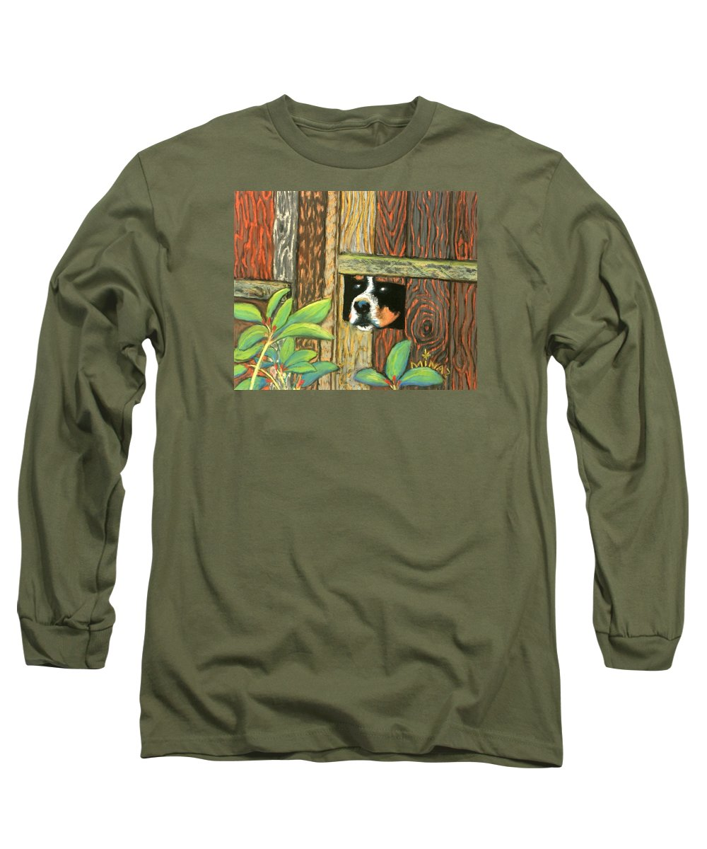 Dog Long Sleeve T-Shirt featuring the painting Peek-a-boo Fence by Minaz Jantz