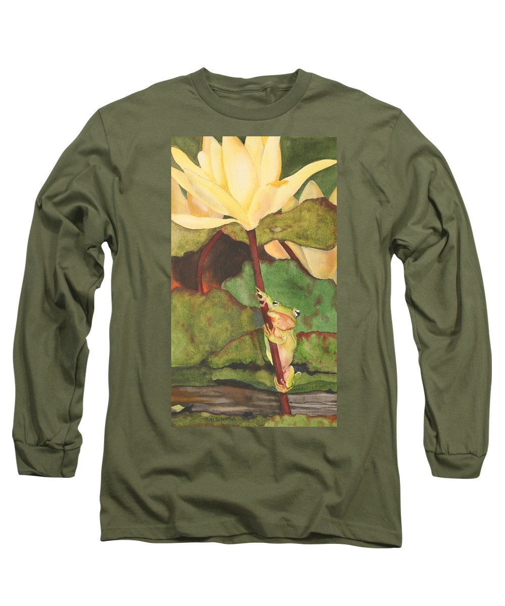 Frog Long Sleeve T-Shirt featuring the painting Peeping Tom by Jean Blackmer