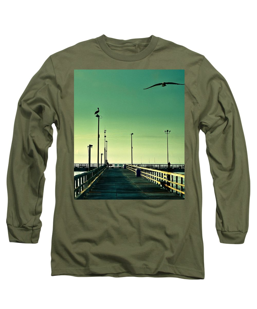 Americana Long Sleeve T-Shirt featuring the photograph Pelican On Watch Duty by Marilyn Hunt