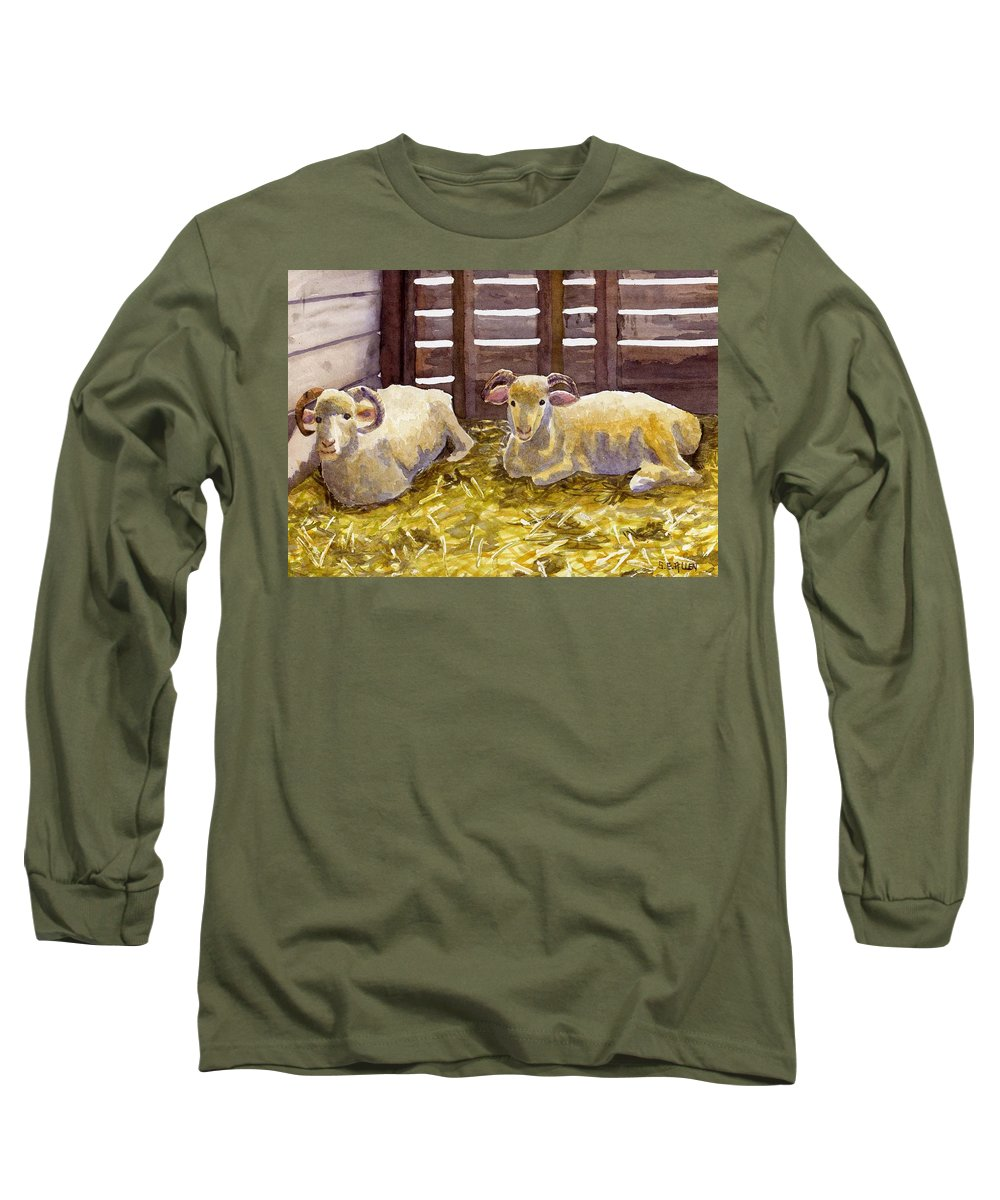 Sheep Long Sleeve T-Shirt featuring the painting Pen Pals by Sharon E Allen