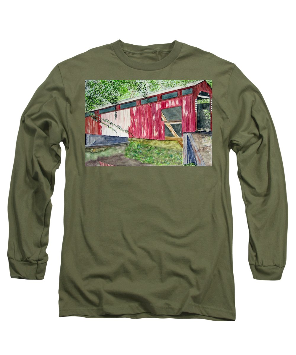 Pennsylvania Art Long Sleeve T-Shirt featuring the painting Pennsylvania Bridge To Nowhere by Larry Wright