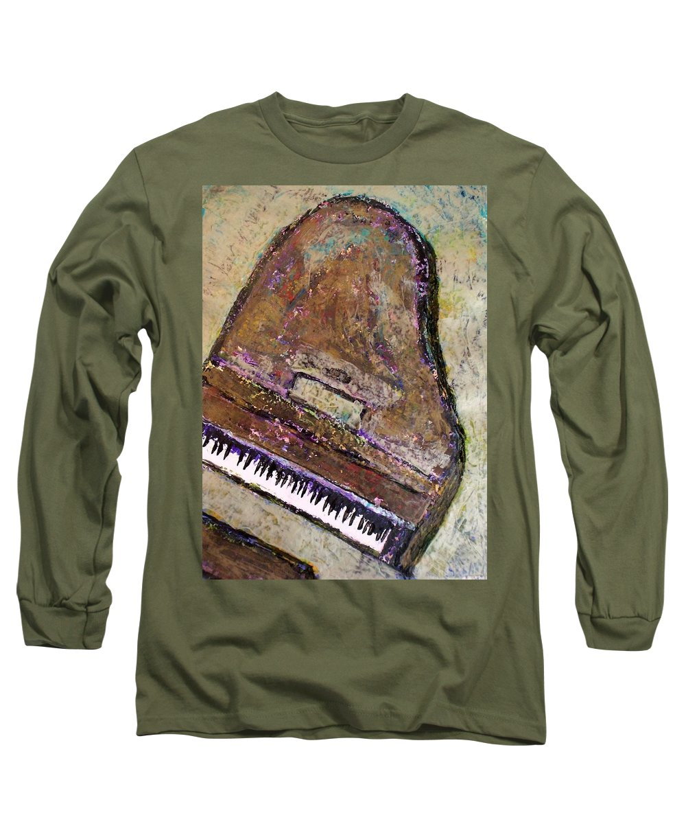 Piano Long Sleeve T-Shirt featuring the painting Piano In Bronze by Anita Burgermeister