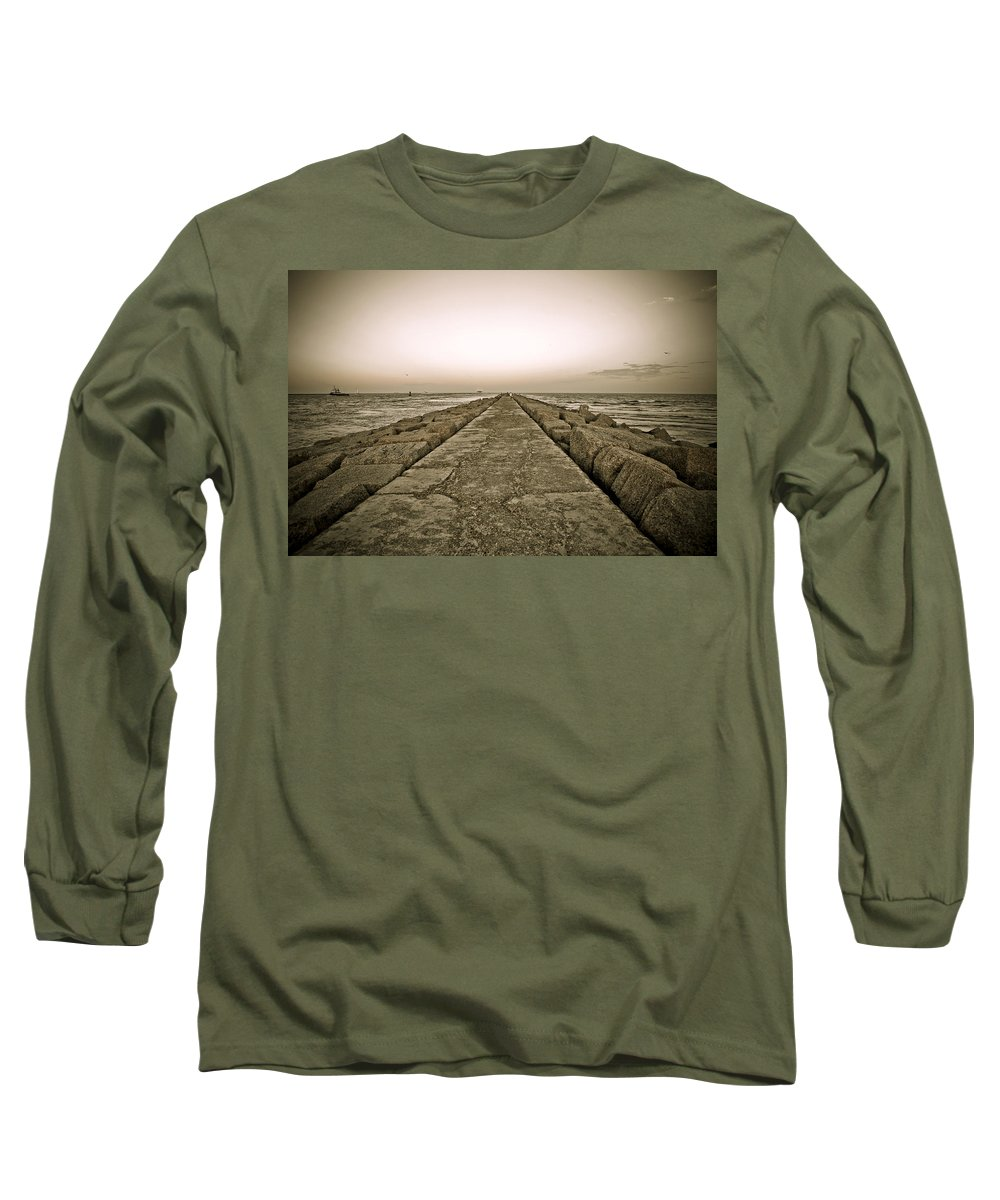 Water Long Sleeve T-Shirt featuring the photograph Pier At Sunset by Marilyn Hunt