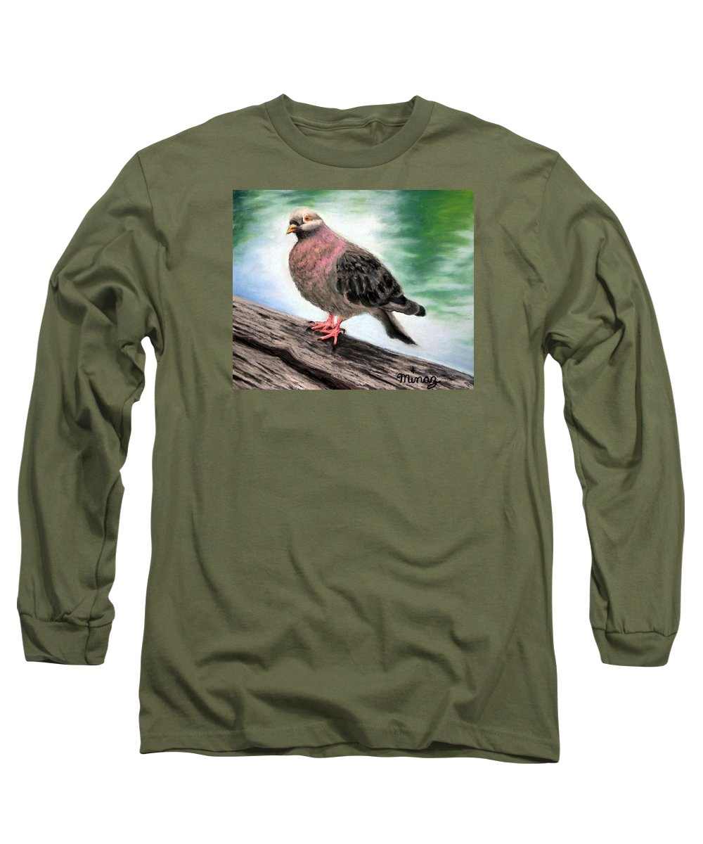 Pigeon Long Sleeve T-Shirt featuring the painting Pigeon Toes by Minaz Jantz