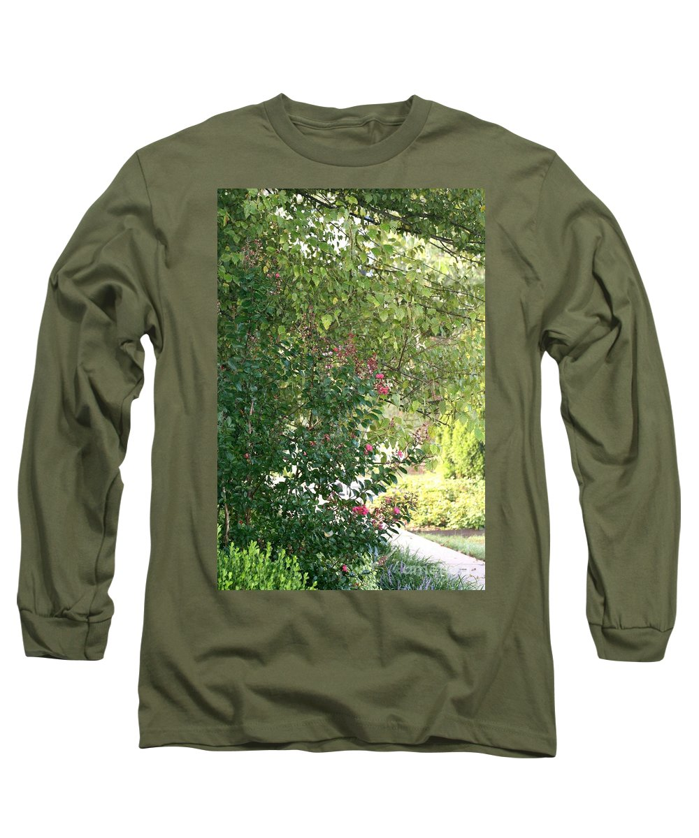 Path Long Sleeve T-Shirt featuring the photograph Pink And Green Path by Nadine Rippelmeyer