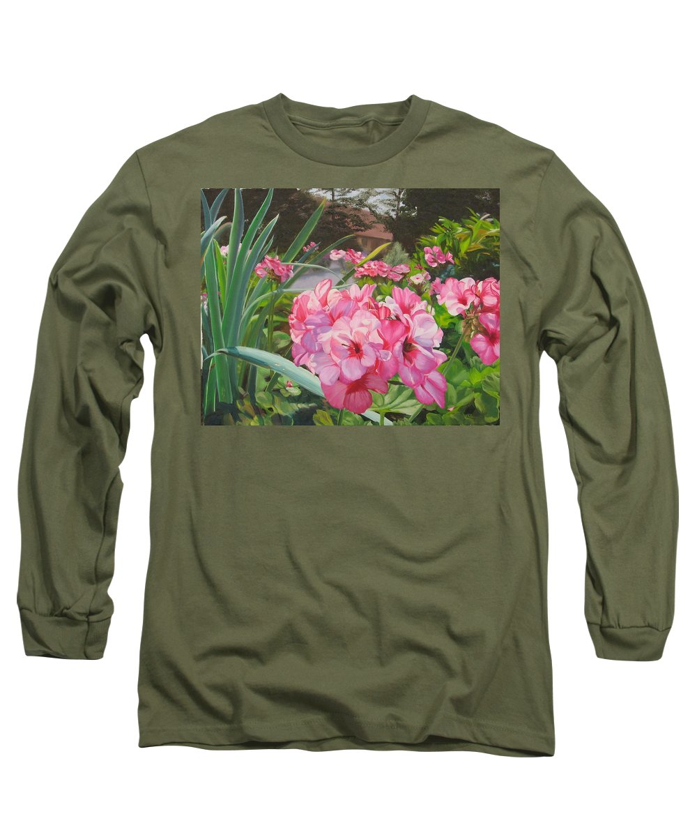 Pink Geraniums Long Sleeve T-Shirt featuring the painting Pink Geraniums by Lea Novak