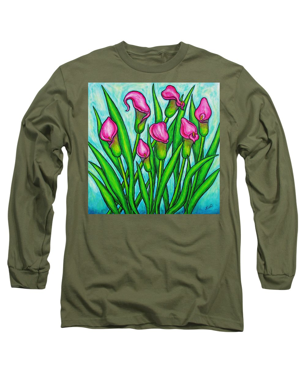 Lisa Lorenz Long Sleeve T-Shirt featuring the painting Pink Ladies by Lisa Lorenz