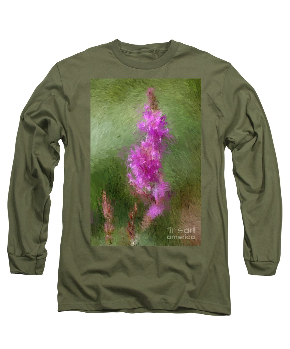 Abstract Long Sleeve T-Shirt featuring the digital art Pink Nature Abstract by David Lane