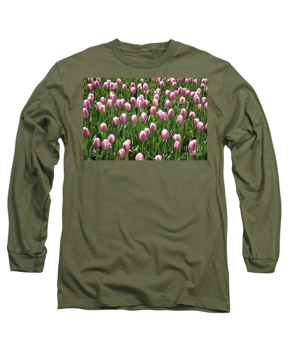 Tulip Long Sleeve T-Shirt featuring the photograph Pink Tulip Field by Robert Pearson