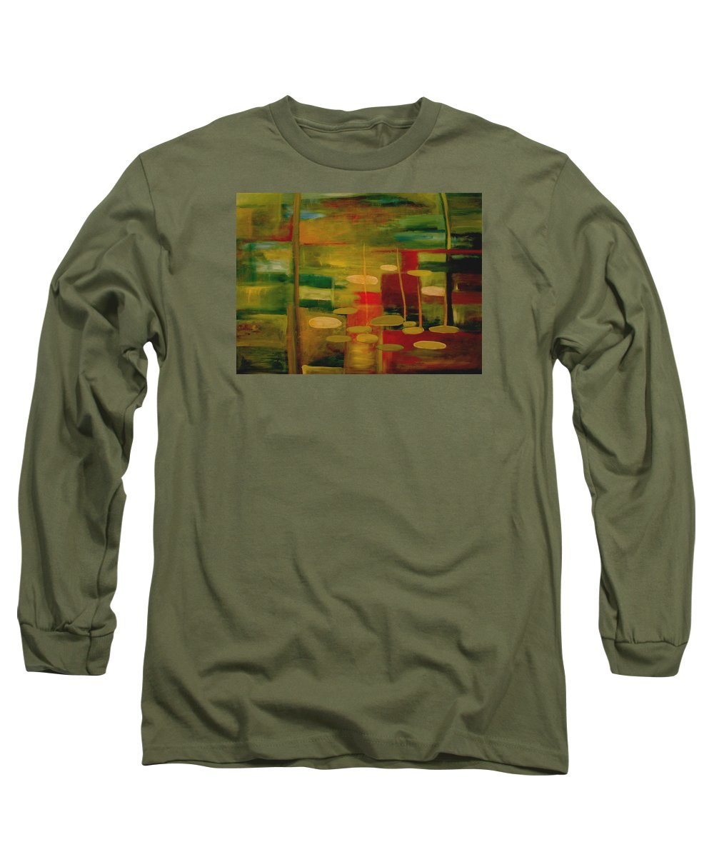 Pond Long Sleeve T-Shirt featuring the painting Pond Reflections by Jun Jamosmos
