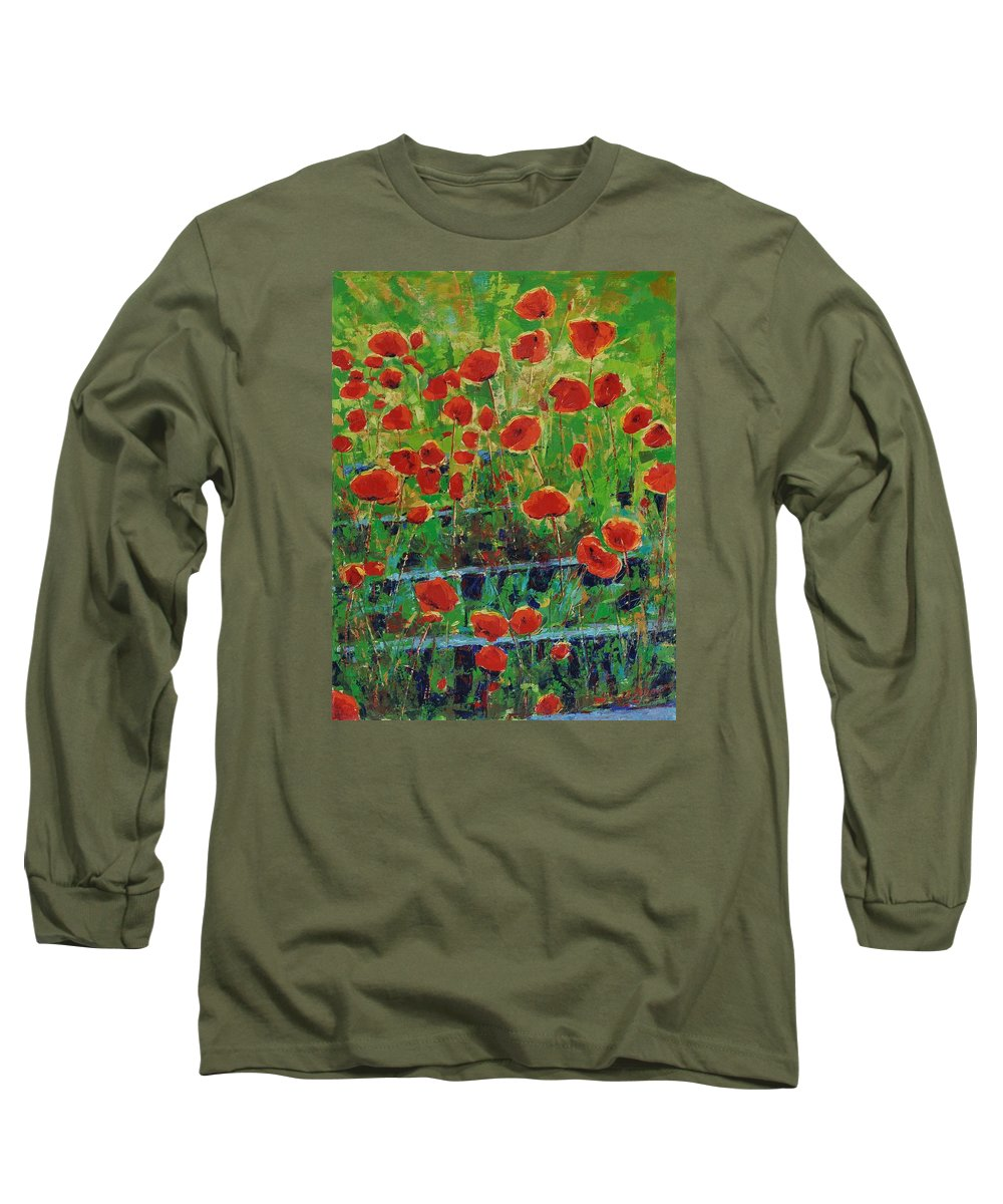 Poppies Long Sleeve T-Shirt featuring the painting Poppies And Traverses 1 by Iliyan Bozhanov