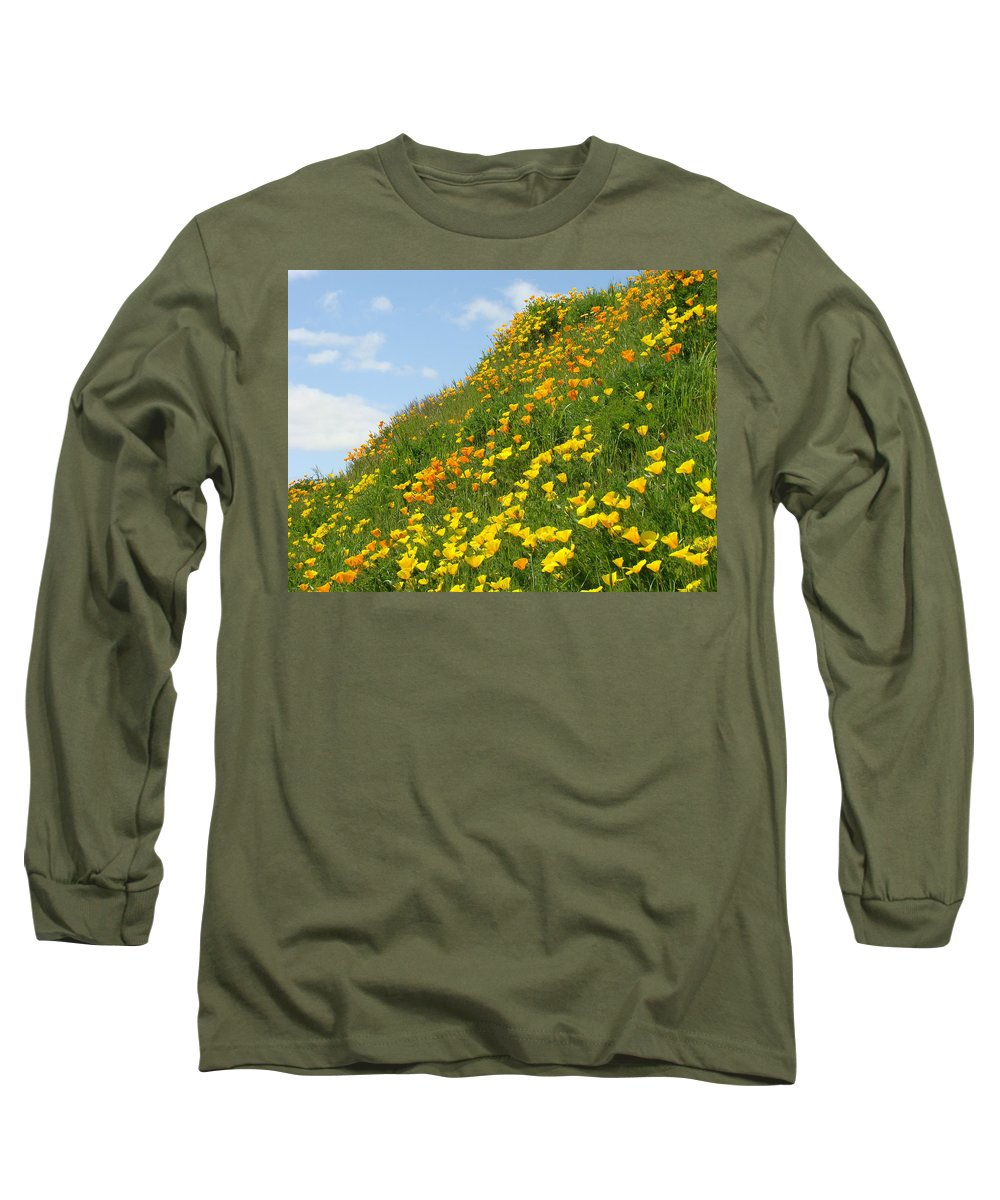 �poppies Artwork� Long Sleeve T-Shirt featuring the photograph Poppies Hillside Meadow 17 Blue Sky White Clouds Giclee Art Prints Baslee Troutman by Baslee Troutman