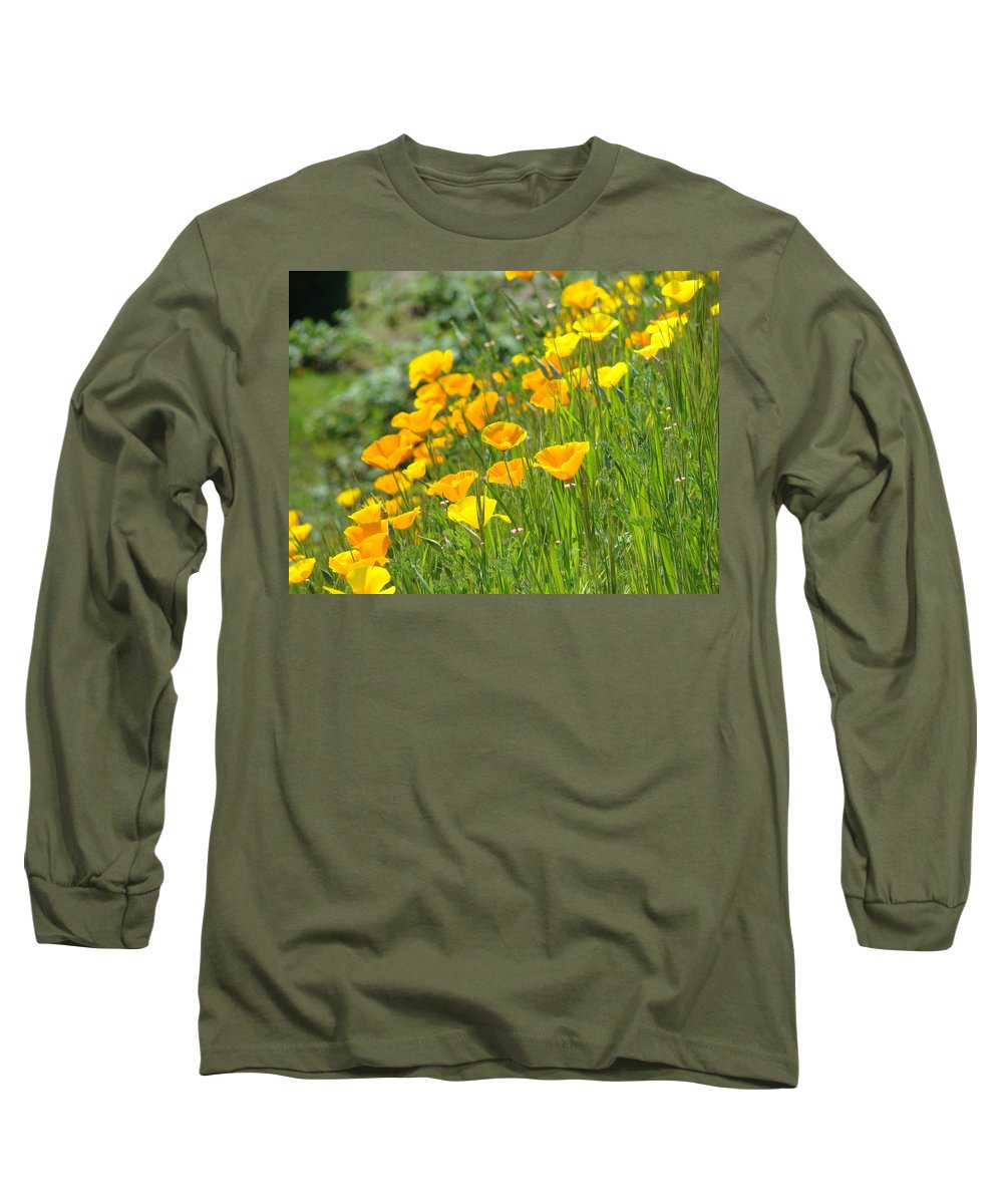 �poppies Artwork� Long Sleeve T-Shirt featuring the photograph Poppies Hillside Meadow Landscape 19 Poppy Flowers Art Prints Baslee Troutman by Baslee Troutman