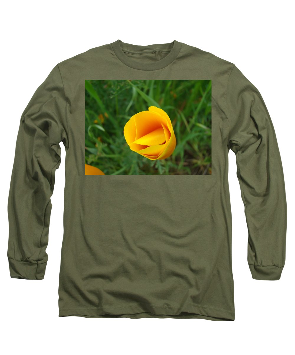 �poppies Artwork� Long Sleeve T-Shirt featuring the photograph Poppy Flower Bud 9 Orange Poppies Green Meadow Art Prints Baslee Troutman by Baslee Troutman