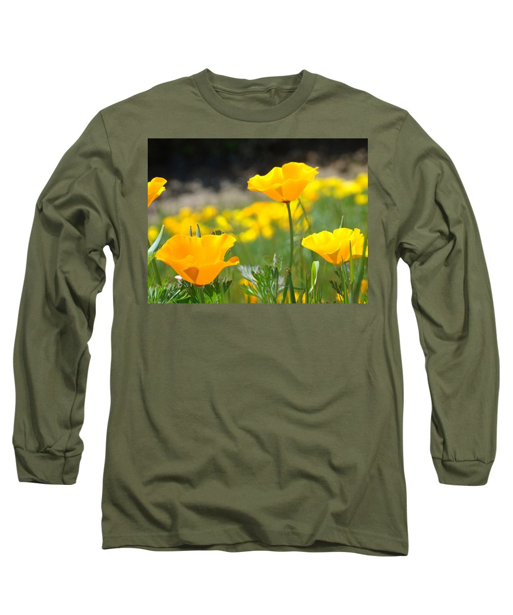�poppies Artwork� Long Sleeve T-Shirt featuring the photograph Poppy Flower Meadow 11 Poppies Art Prints Canvas Framed by Baslee Troutman