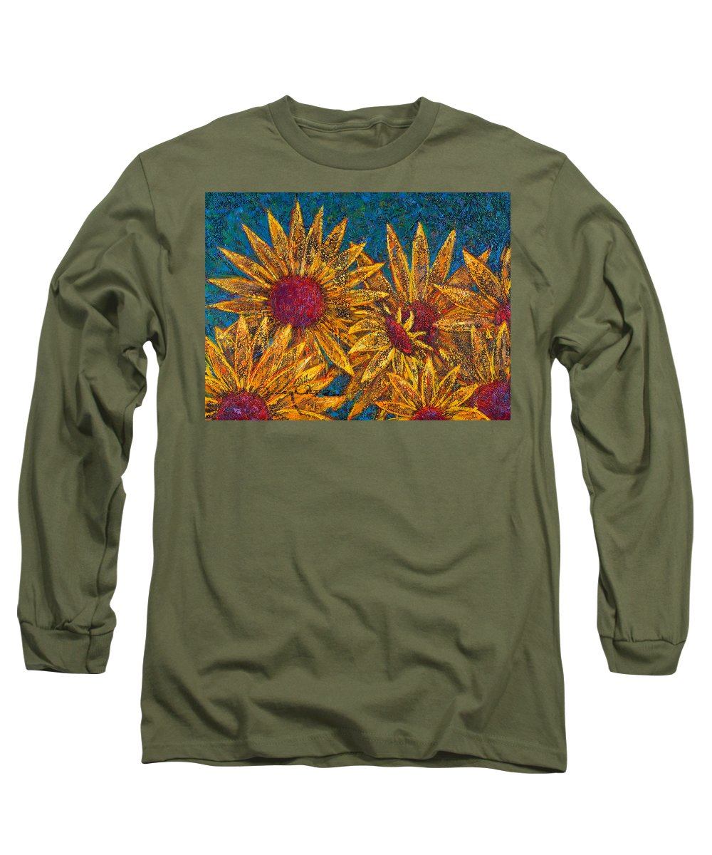 Flowers Long Sleeve T-Shirt featuring the painting Positivity by Oscar Ortiz
