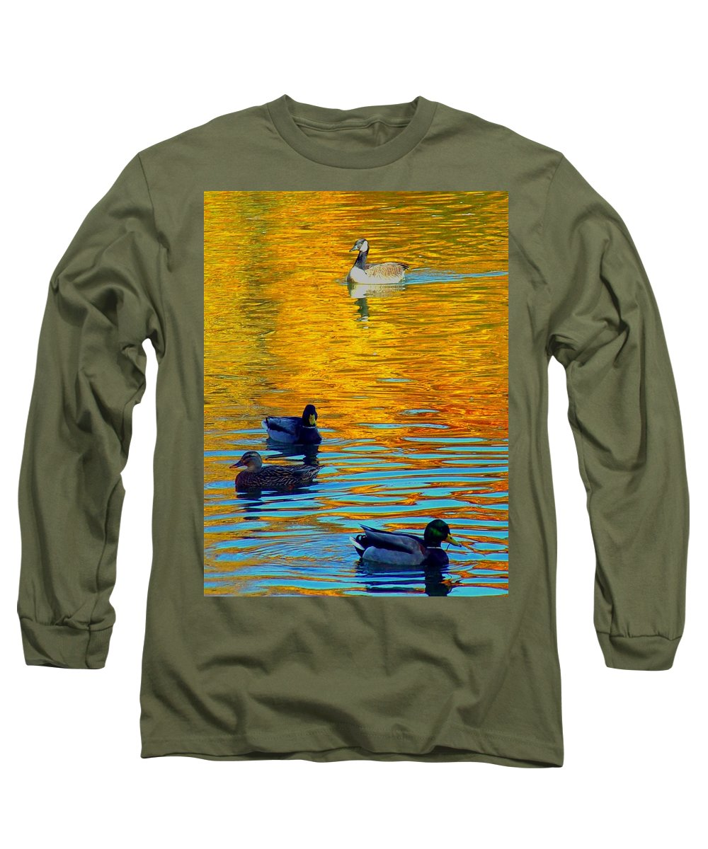 Ducks Malard Lake Gold Canada Geese Blue Long Sleeve T-Shirt featuring the photograph Possibilities by Jack Diamond