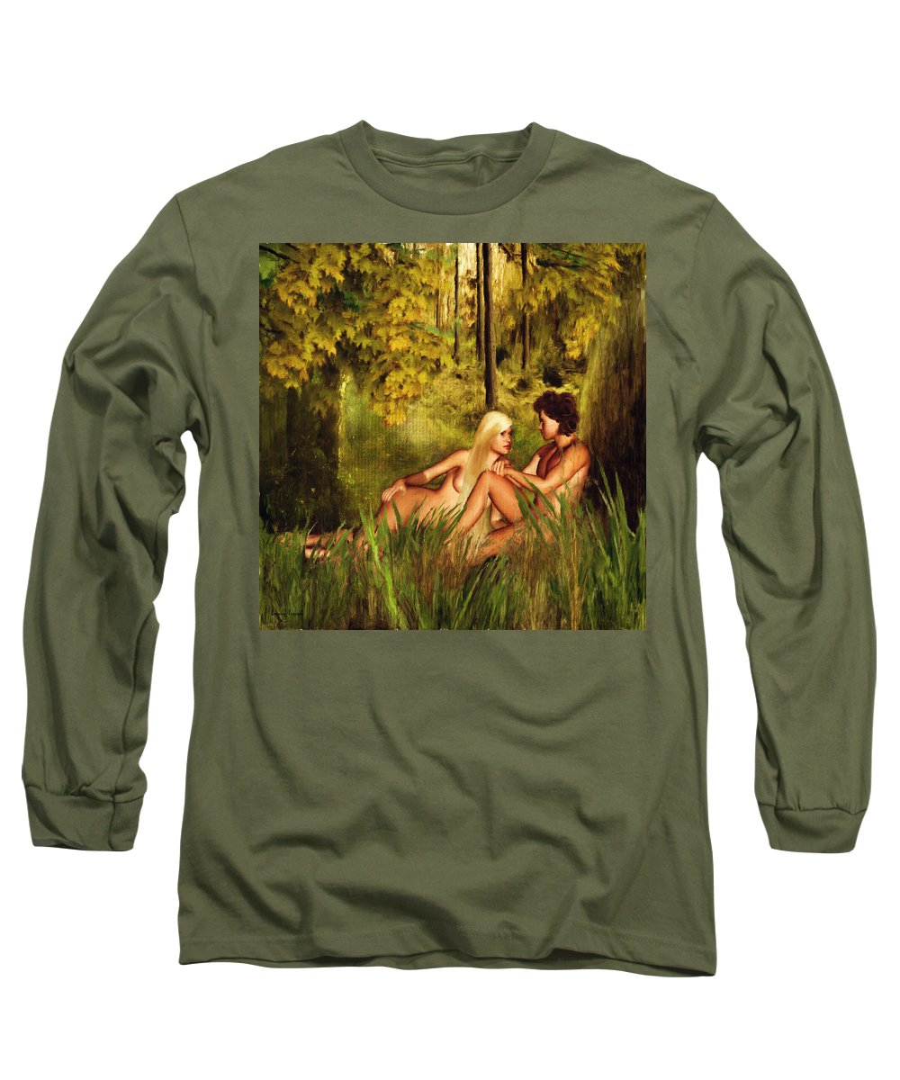 Eve Long Sleeve T-Shirt featuring the digital art Pre-consciousness by Lourry Legarde