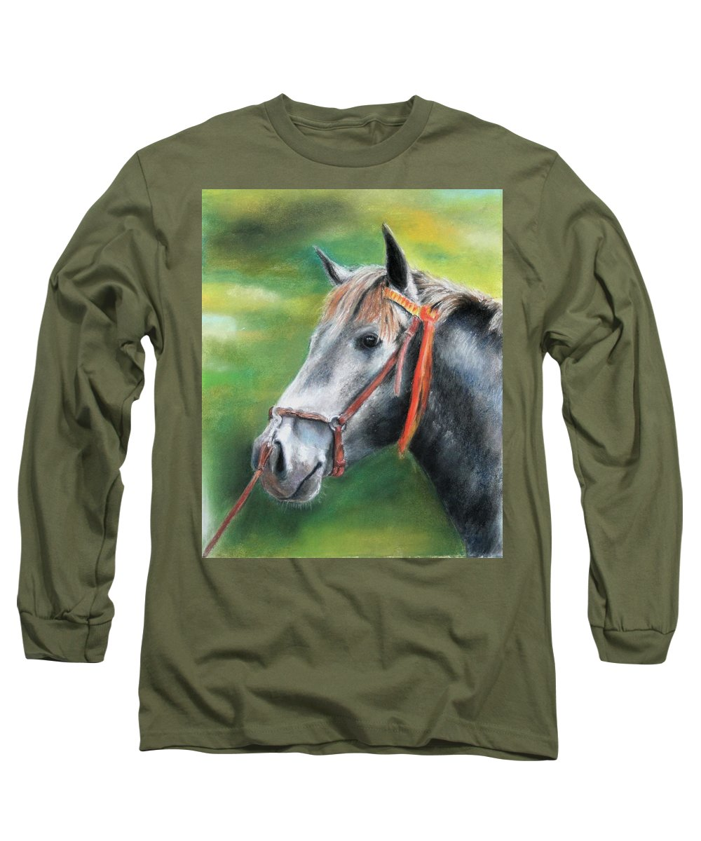 Horse Long Sleeve T-Shirt featuring the painting Pure Spanish by Ceci Watson