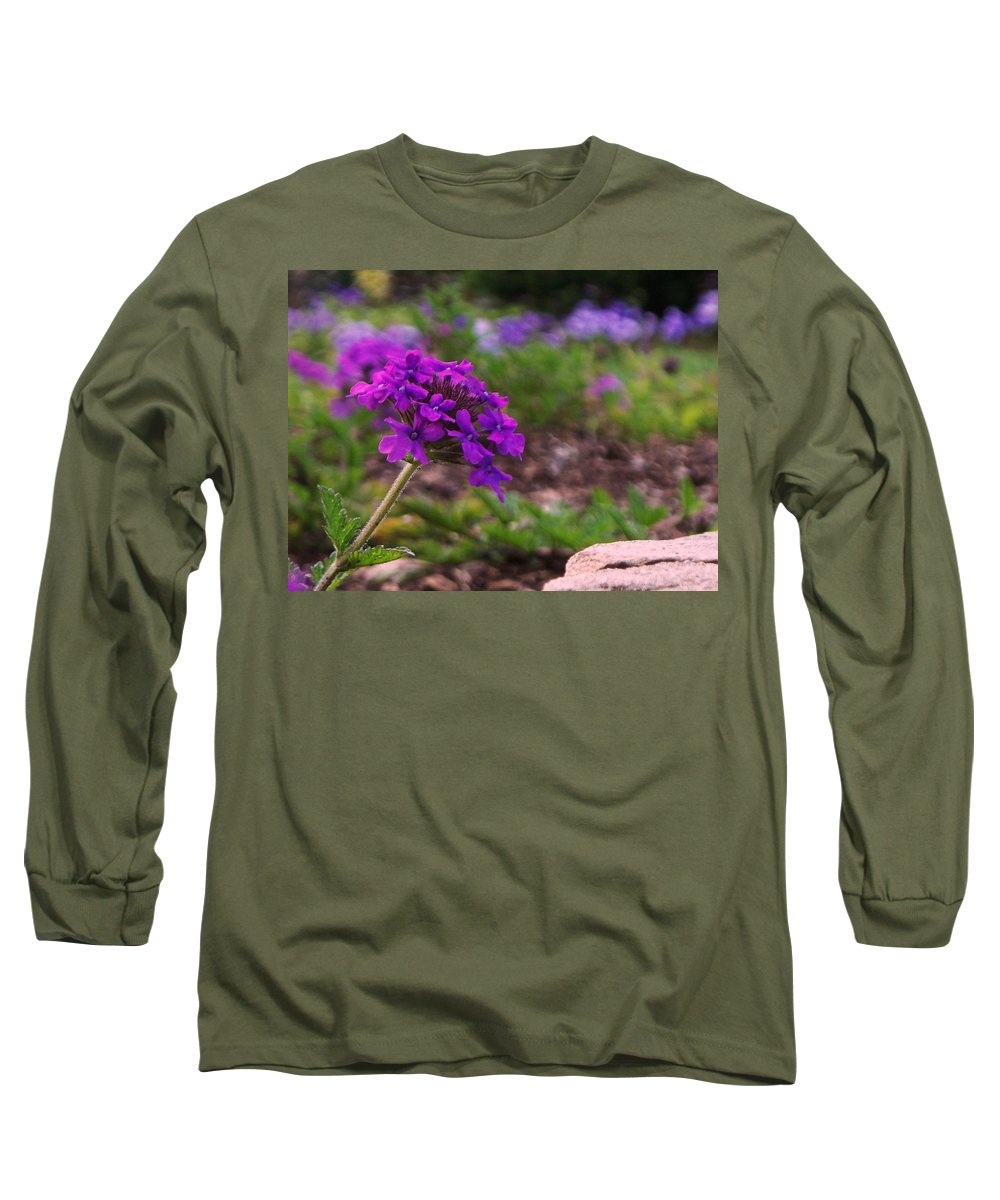 Purple Long Sleeve T-Shirt featuring the painting Purple Flower by Eric Schiabor