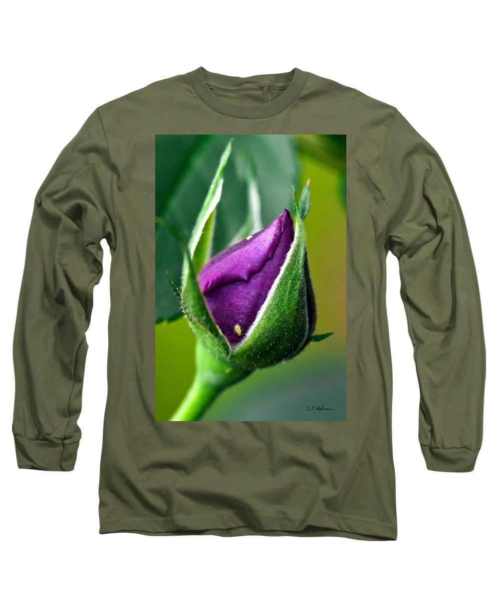 Rose Long Sleeve T-Shirt featuring the photograph Purple Rose Bud by Christopher Holmes